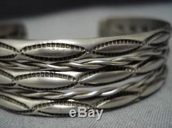 Earlier 1900's Vintage Navajo Sterling Silver Bracelet Old Cuff Native American
