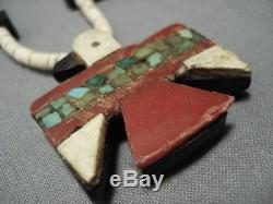Earlier 1900's Vintage Santo Domingo Cerrillos Turquoise Necklace Old
