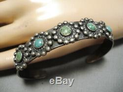 Early 1900's Vintage Navajo Cerrillos Turquoise Sterling Silver Bracelet Old
