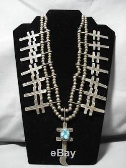 Early 1900's Vintage Navajo Sterling Silver Squash Blossom Cross Necklace