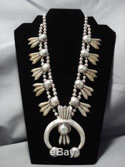 Early Heavy Vintage Navajo 246 Gram Sterling Silver Dime Squash Blossom Necklace