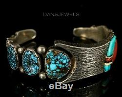 Early Old Pawn Vintage Navajo Thomas Jim TURQUOISE Sterling Silver CUFF Bracelet