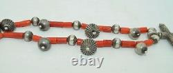 Early Sterling Silver & Coral Necklace