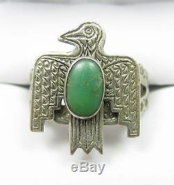 Early Vintage Navajo Fred Harvey Era Thunderbird Green Turquoise Adjustable Ring