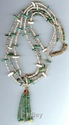 Early Vintage Santo Domingo Multi Strand Heishi Bead Shell Turquoise Necklace