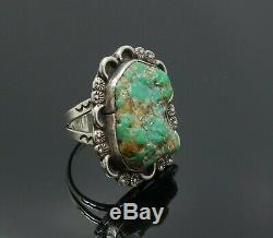 Estate Found Vintage American Indian Pawn Sterling Silver Turquoise Nugget Ring