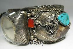 Estate M Thomas Jr Navajo Huge Heavy Turquoise Coral Cuff Bracelet Watch C1616