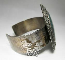 Estate Vintage Southwestern Sterling Silver Agate Heavy HUGE Bracelet C1290