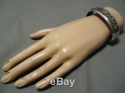 Exceptional Vintage Navajo Storyteller Sterling Silver Bracelet