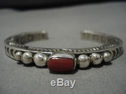 Exquisite Vintage Navajo Coral Sterling Silver Naitve American Bracelet Old