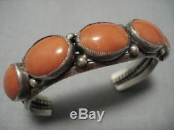 Exquisite Vintage Navajo Domed Coral Sterling Silver Native American Bracelet