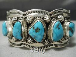 Exquisite Vintage Navajo Spiderweb Turquoise Sterling Silver Shell Bracelet