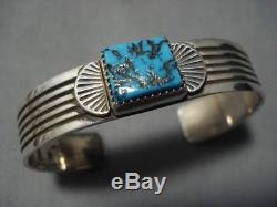 Exquisite Vintage Navajo Squared Turquoise Sterling Silver Bracelet Old