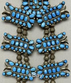 Exquisite Vintage Navajo Sterling Silver Blue Turquoise Squash Blossom Necklace