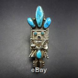 Extra Long Vintage NAVAJO Sterling Silver TURQUOISE KACHINA RING, size 7.5