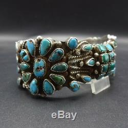 Extraordinary 1930s Vintage NAVAJO Sterling Silver & TURQUOISE Cuff BRACELET