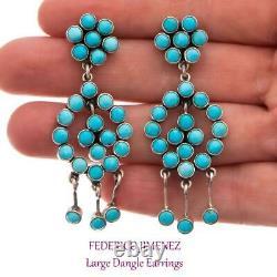 FEDERICO JIMENEZ Earrings Natural TURQUOISE Sterling Silver Cluster Dangles 2.38