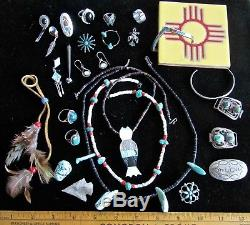 Fabulous LOT Vintage SW Native American Navajo Zuni Jewelry sterling turquoise