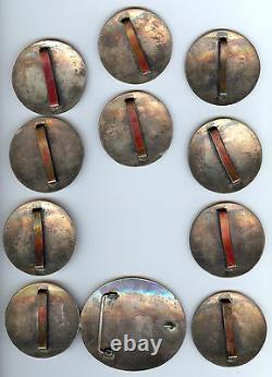 Fabulous Vintage Hopi Indian Silver Turkey Design Belt Buckle & Conchos Set