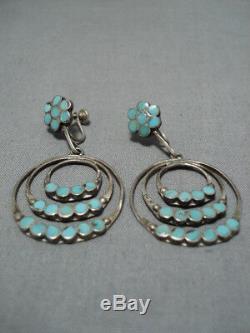 Fabulous Vintage Zuni Native American Sterling Silver Turquoise Earrings