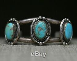Fantastic Vintage Native American Navajo Turquoise Sterling Silver Cuff Bracelet