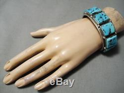 Fantastic Vintage Navajo Sleeping Beauty Turquoise Sterling Silver Bracelet Old