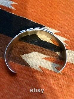 Fine Coin Silver 1930s 40s Turquoise Navajo Indian Cuff Bracelet