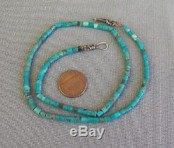 Fine Old Vintage Turquoise Heishi Necklace from the 70's 17