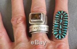 Fine Vintage Long Zuni Petit Point Turquoise Ring Size 7 1/4
