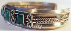 Fine Vintage Navajo Indian Silver Rectangle Turquoise Cuff Bracelet