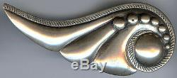 Frank Patania Gorgeous Vintage Sterling Silver Swirling Wave Pin Brooch