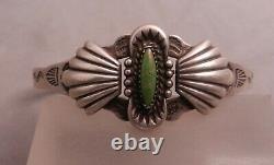 Fred Harvey Era Navajo Sterling & Green Cerrillos Turquoise Cuff Bracelet