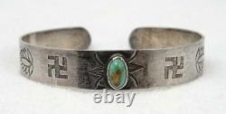 Fred Harvey Era Old Pawn Silver Turquoise Whirling Log Stampwork Cuff Bracelet
