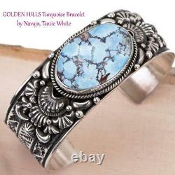 GOLDEN HILLS Turquoise Bracelet Sterling Silver TSOSIE WHITE Natural Cuff Mens