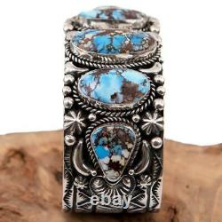 GOLDEN HILLS Turquoise Bracelet Sterling Silver TSOSIE WHITE Natural Row Cuff