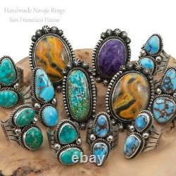 GOLDEN HILLS Turquoise Ring Sterling Silver ALBERT JAKE Native American 8 Old St
