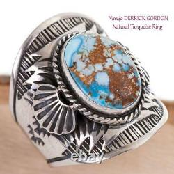 GOLDEN HILL Turquoise Ring Sterling Silver Native American DERRICK GORDON 10 MEN