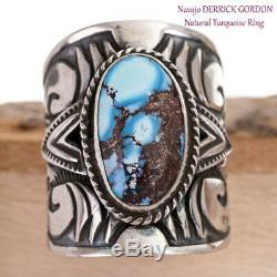 GOLDEN HILL Turquoise Ring Sterling Silver Native American DERRICK GORDON 7.5