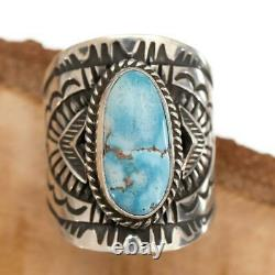 GOLDEN HILL Turquoise Ring Sterling Silver Native American DERRICK GORDON 8