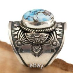 GOLDEN HILL Turquoise Ring Sterling Silver Native American DERRICK GORDON 9