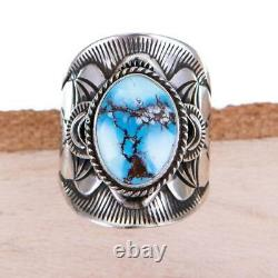 GOLDEN HILL Turquoise Ring Sterling Silver Native American DERRICK GORDON 9.5