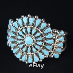 Genuine Turquoise CLUSTER Cuff Bracelet vintage Navajo sterling silver. 925 ss