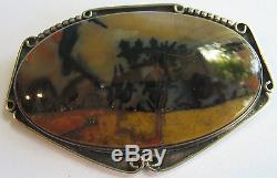 Gorgeous Vintage American Indian Navajo Silver Scenic Petrified Wood Pin Brooch