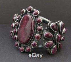 Gorgeous Vintage NAVAJO Sterling Purple Spiny Oyster Cluster Cuff Bracelet