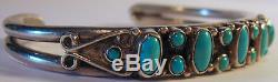 Gorgeous Vintage Navajo Indian Silver Turquoise Cuff Bracelet