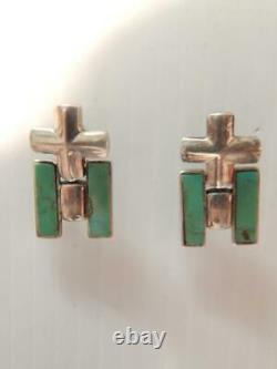 Gorgeous Vintage Santo Domingo Pueblo Indian Sterling Silver Turquoise Earrings