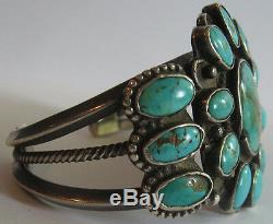 Gorgeous Wide Vintage Navajo Indian Silver Multi Turquoise Cuff Bracelet