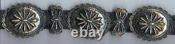 Great Vintage Navajo Indian Leather Ladies Belt With Repousse Silver Conchos