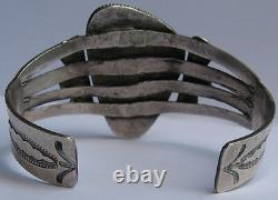 Great Vintage Navajo Indian Silver Big Petrified Wood Agate Cuff Bracelet