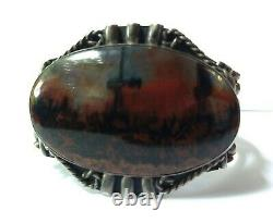 Great Vintage Navajo Indian Silver Scenic Petrified Wood Cuff Bracelet